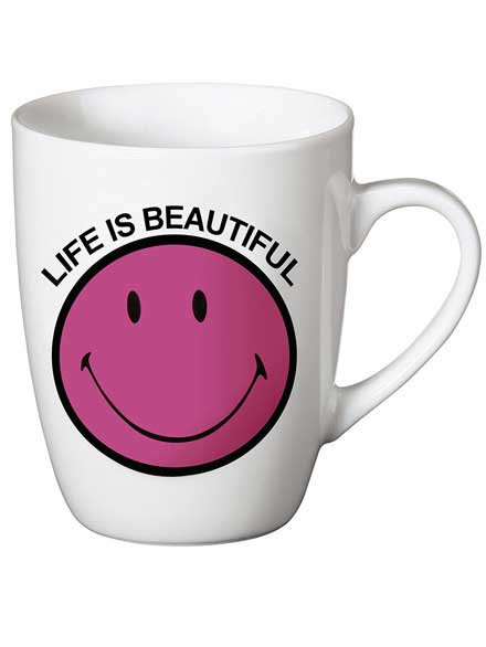 Taza Smiley Life is beautiful Rosa