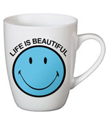 "Taza Smiley ""Life is beautiful"" Azul"